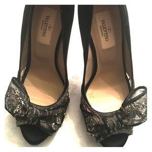 Valentino bow peep toe platform heels